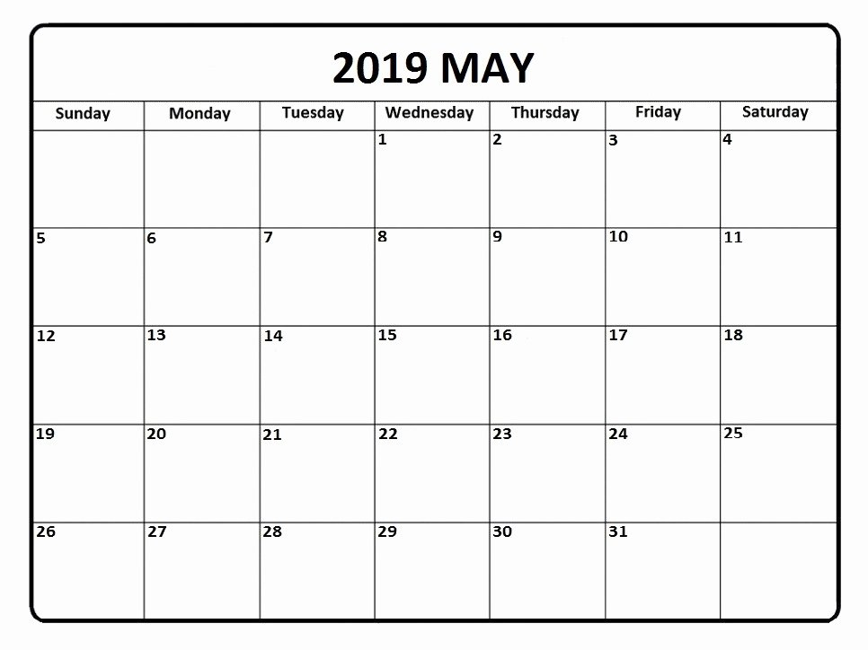 Free 2019 Calendar Template Fresh Free May 2019 Calendar Printable Template Blank Word Pdf Notes