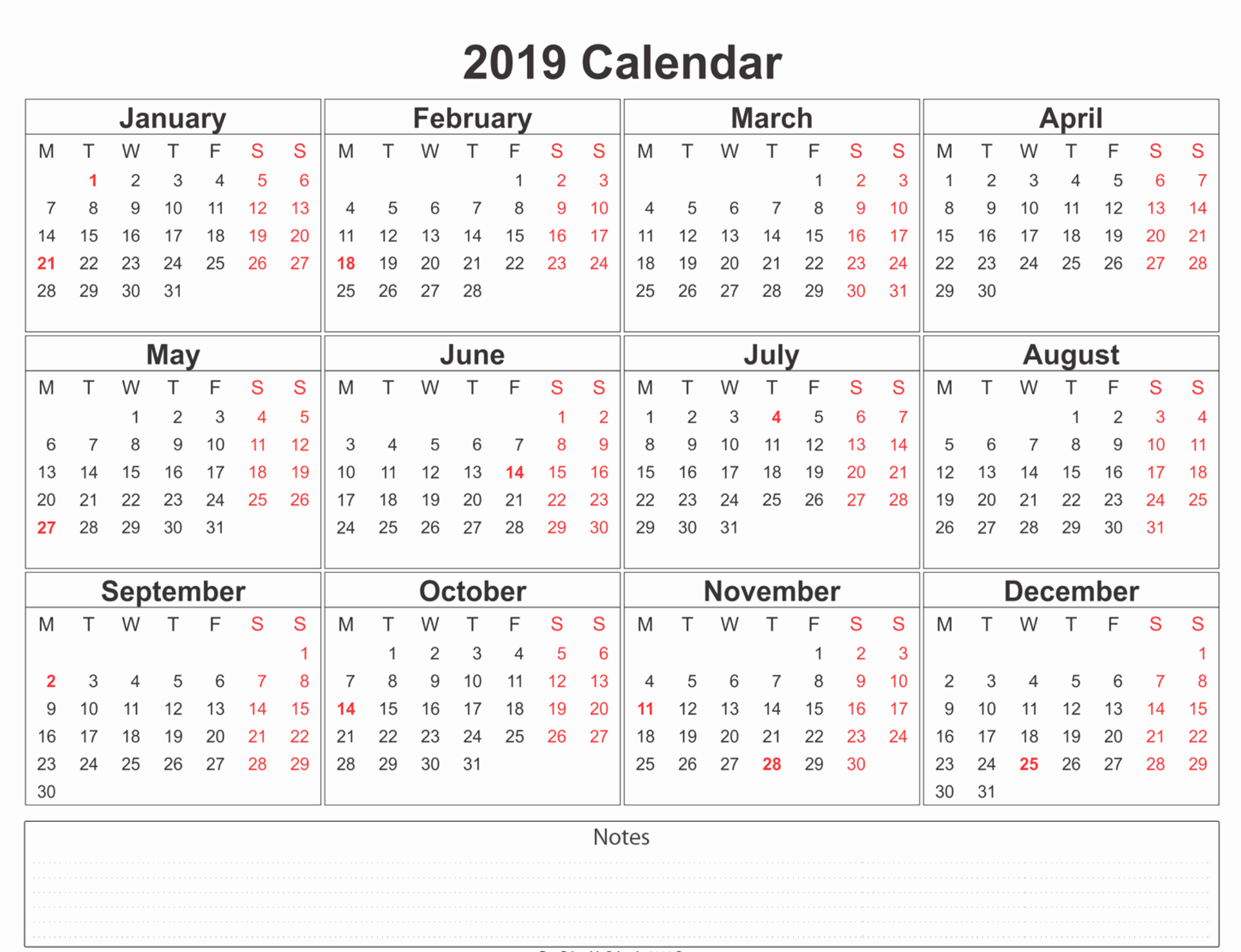 Free 2019 Calendar Template Inspirational 2019 Calendar Amazonaws