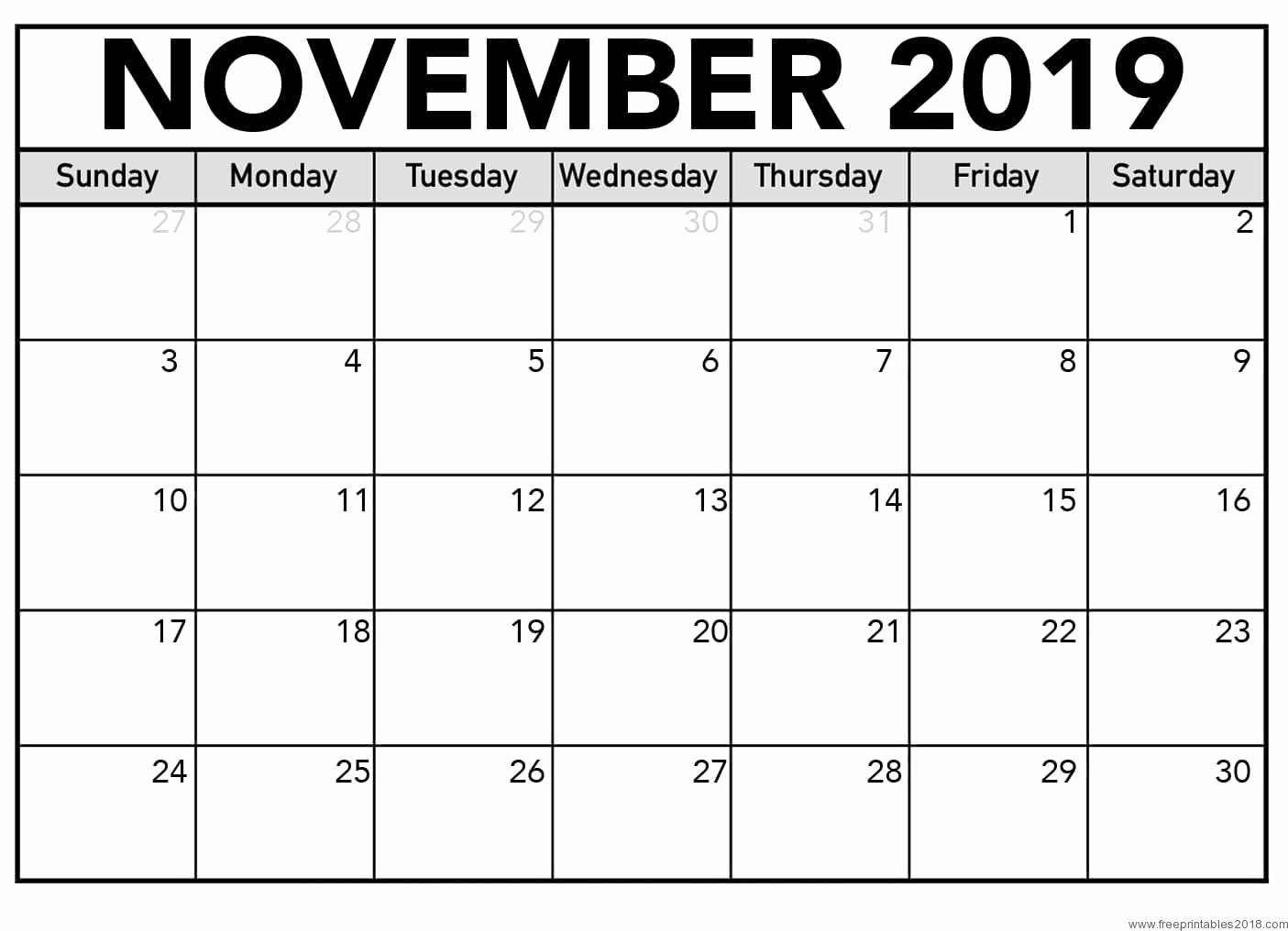 Free 2019 Calendar Template Inspirational Calendar November 2019 Free Printable Templates