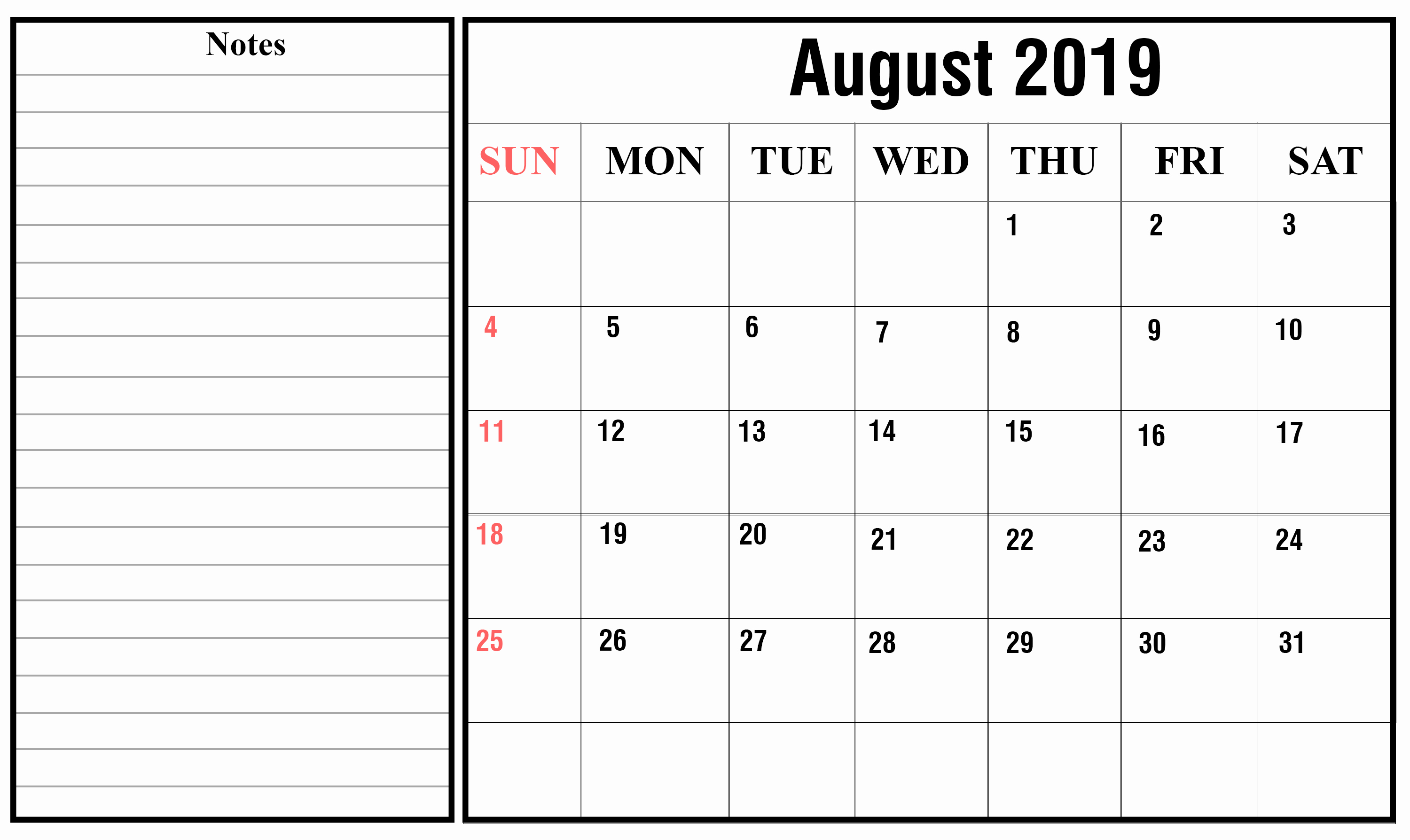 Free 2019 Calendar Template Inspirational Free August 2019 Calendar Printable Pdf Excel Word