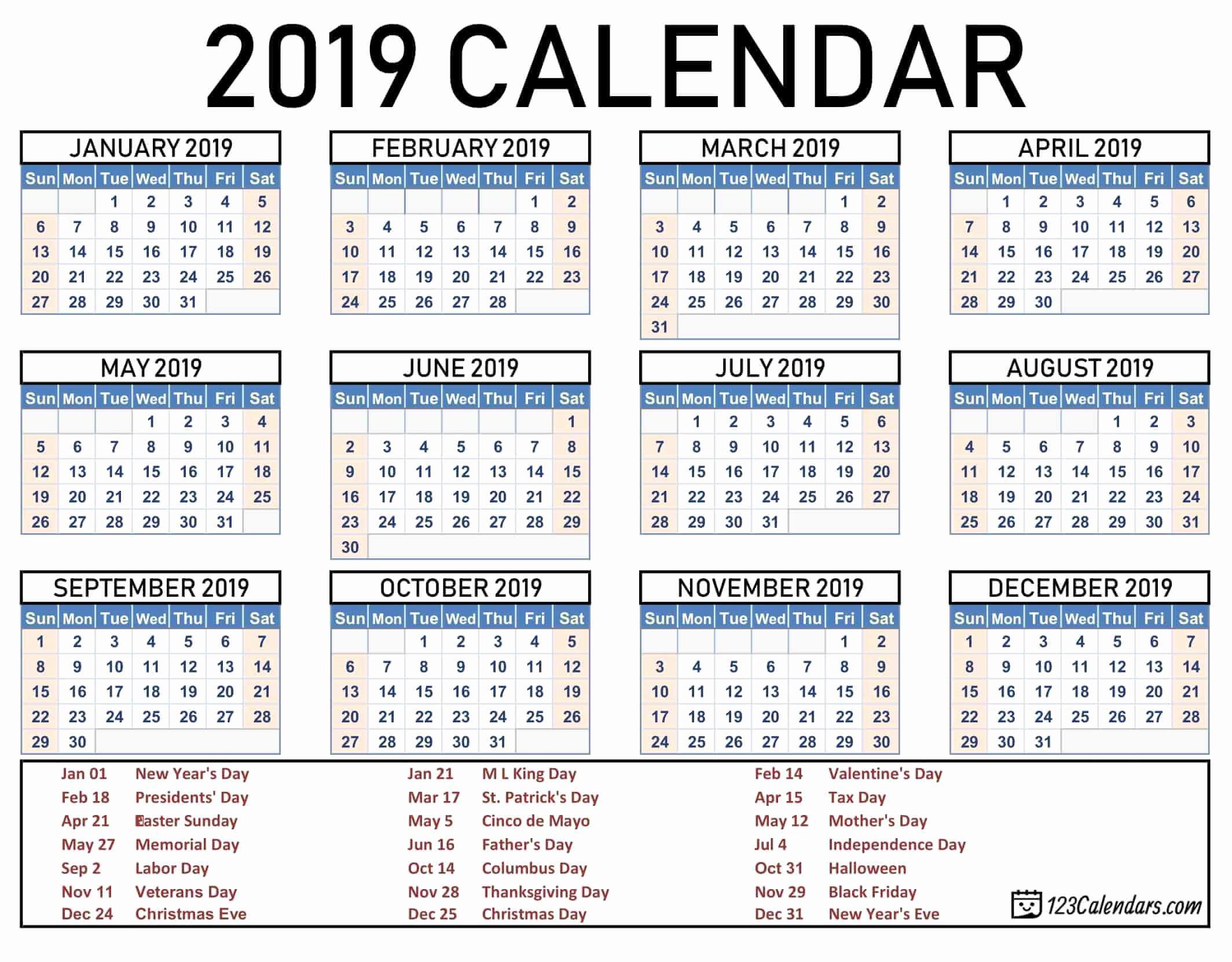 Free 2019 Calendar Template Inspirational Free Printable 2019 Calendar