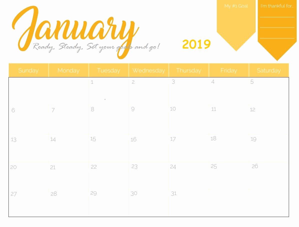 Free 2019 Calendar Template Inspirational Free Printable 2019 Monthly Calendar