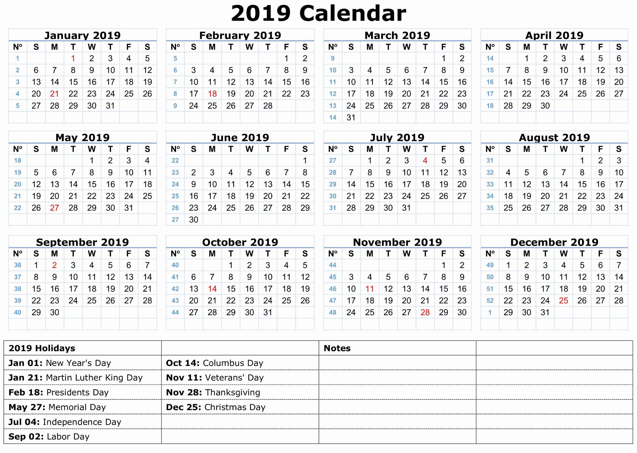 Free 2019 Calendar Template Lovely 2019 Calendar Amazonaws