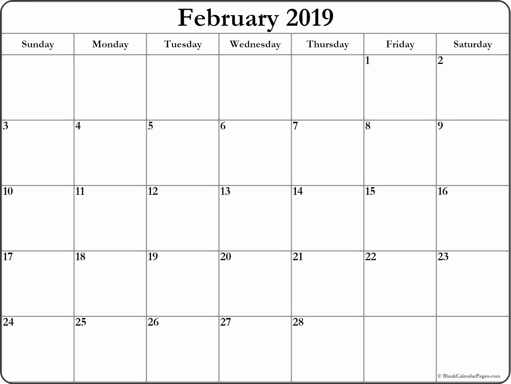 Free 2019 Calendar Template Lovely February 2019 Blank Calendar Templates