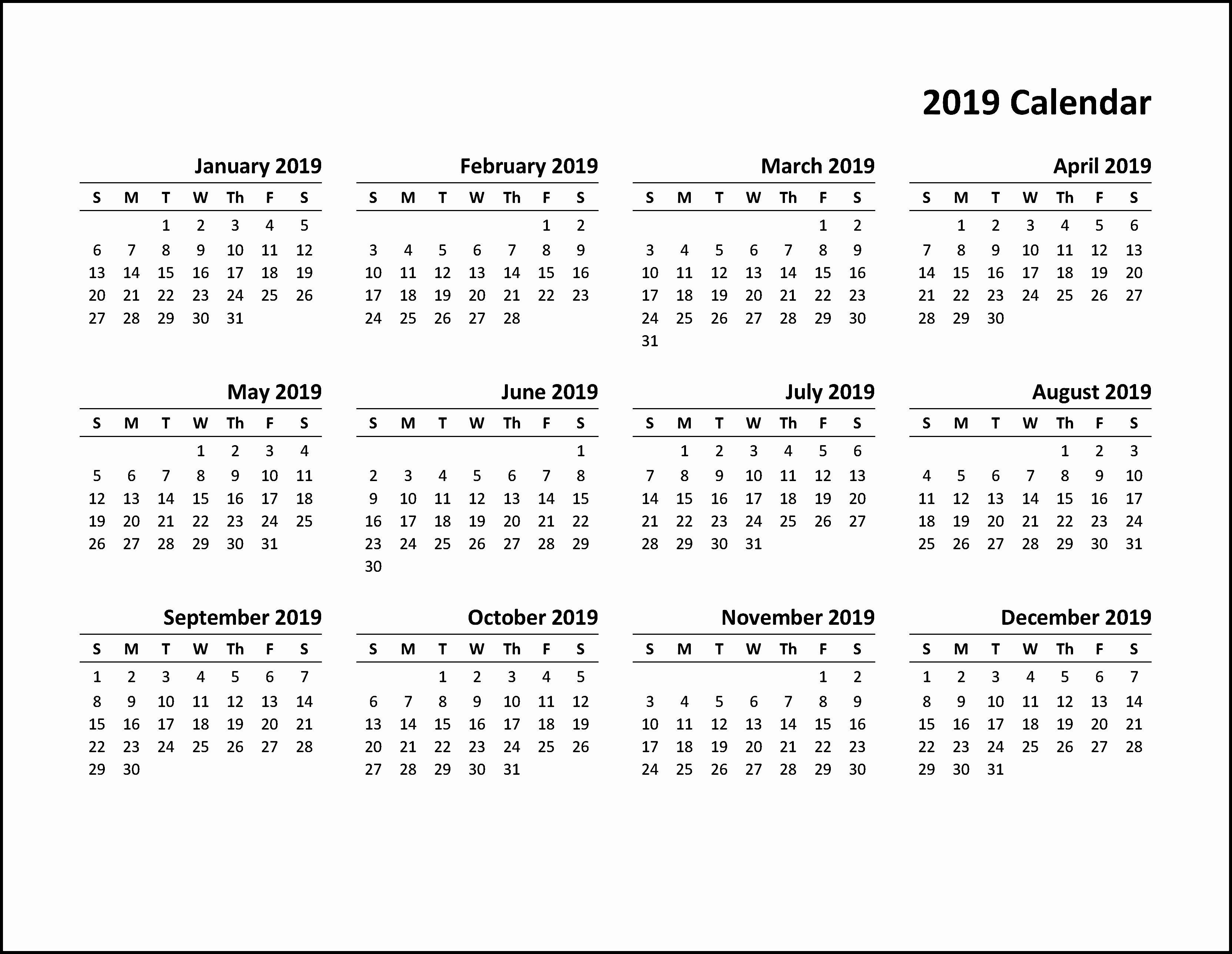 Free 2019 Calendar Template Lovely Printable Calendar 2019 Pdf Calendar2019