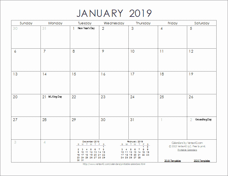 Free 2019 Calendar Template New 2019 Calendar Templates and