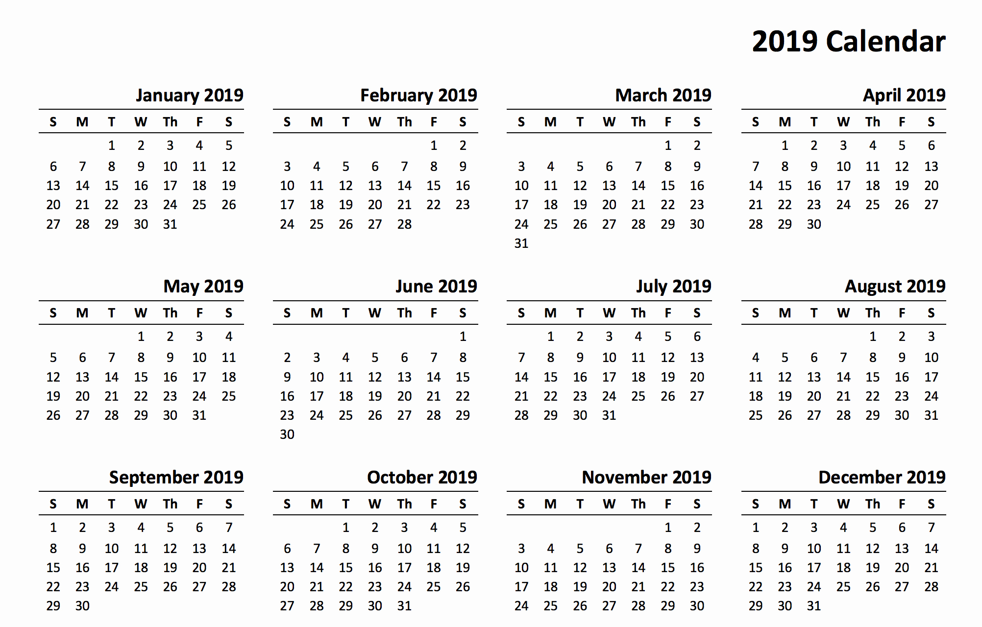 Free 2019 Calendar Template New 2019 Printable Calendar Templates Pdf Excel Word Free