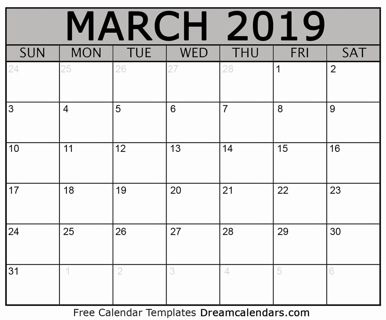 Free 2019 Calendar Template New March 2019 Calendar