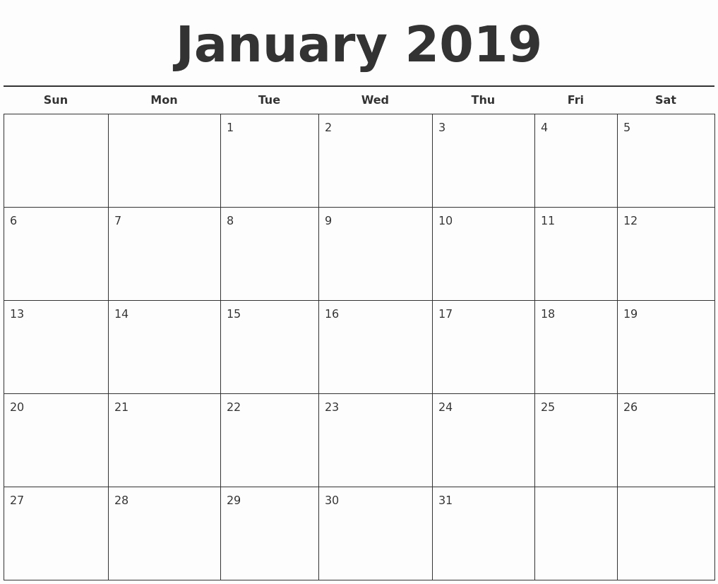 Free 2019 Calendar Template Unique January 2019 Free Calendar Template