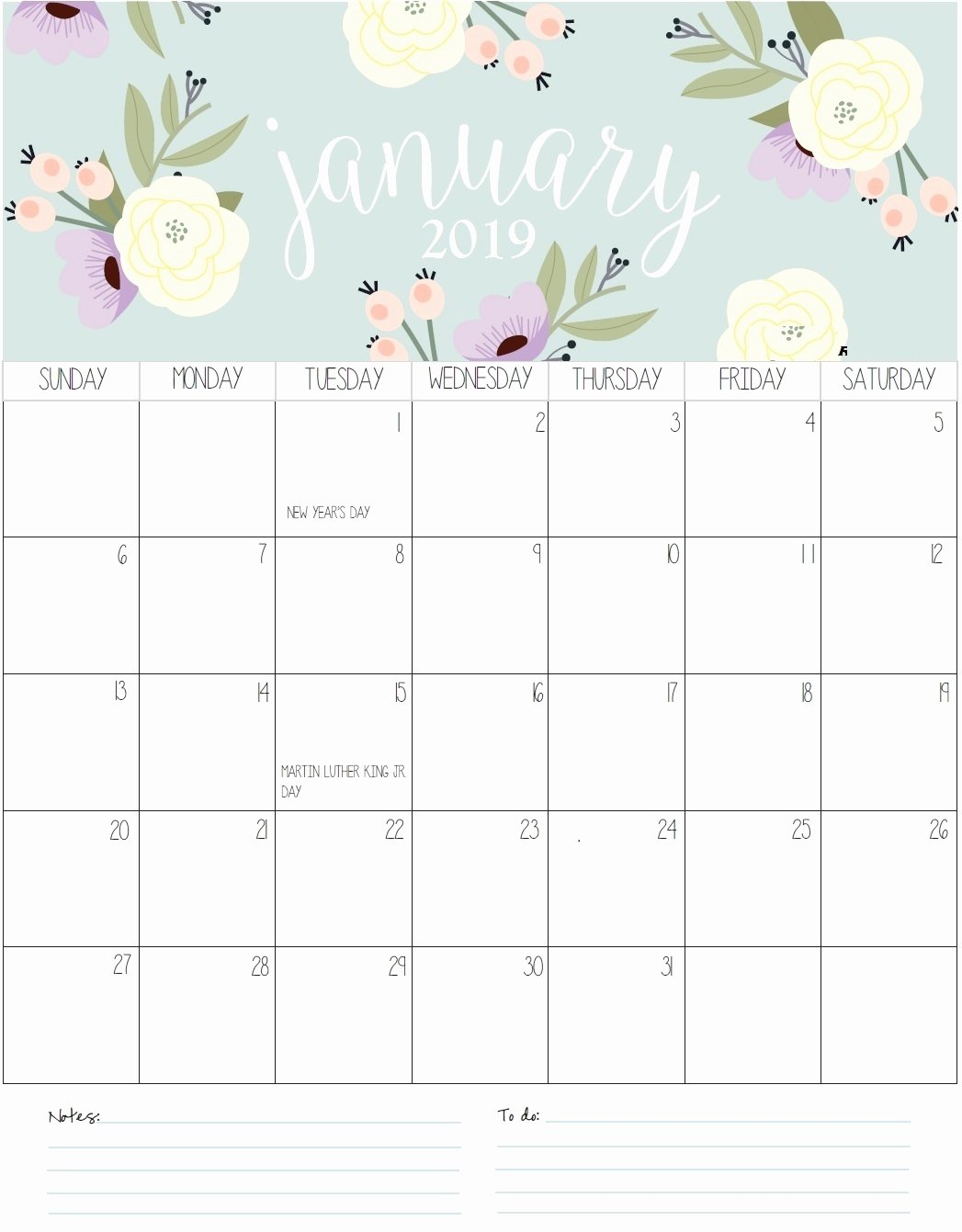 monthly printable calendar 2019