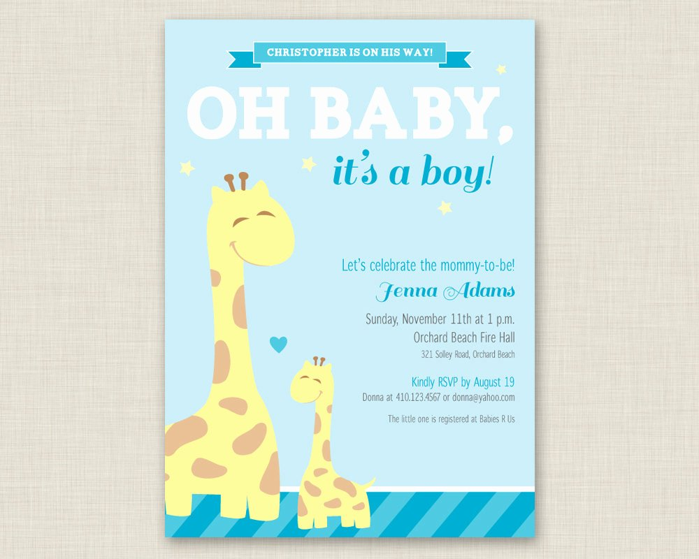 Free Baby Shower Invitation Templates Beautiful Giraffe Baby Shower Invitation Printable Baby Shower