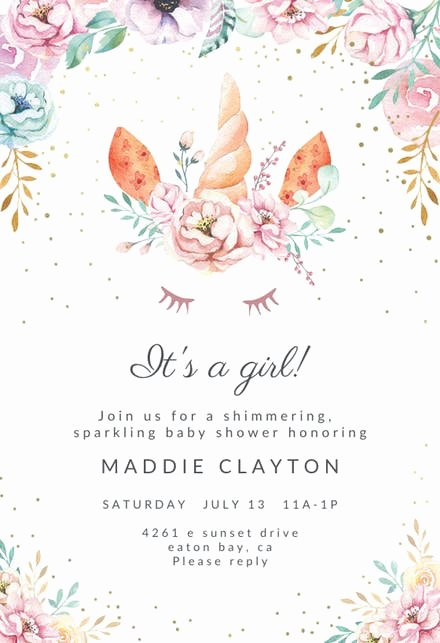 Free Baby Shower Invitation Templates Fresh Floral Unicorn Baby Shower Invitation Template Free