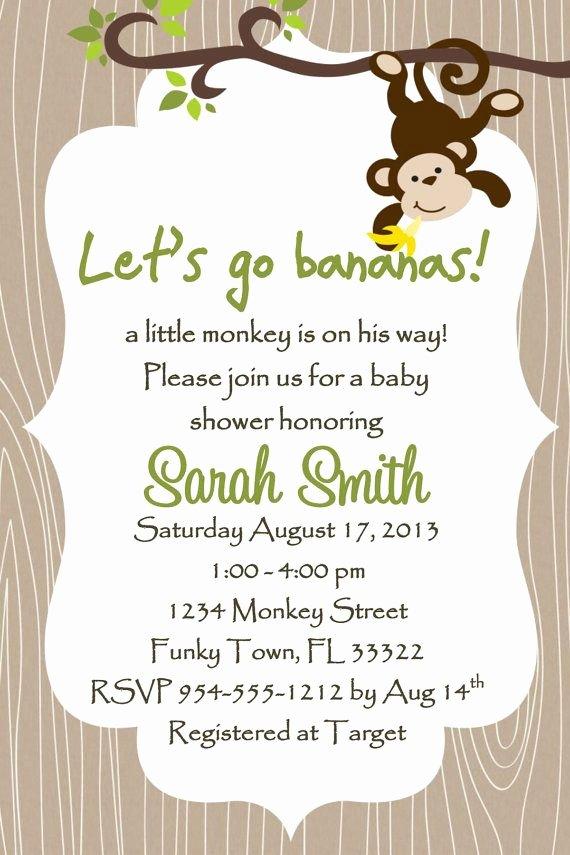 Free Baby Shower Invitation Templates Unique Monkey Baby Shower Invitation Template 4x6 Boy