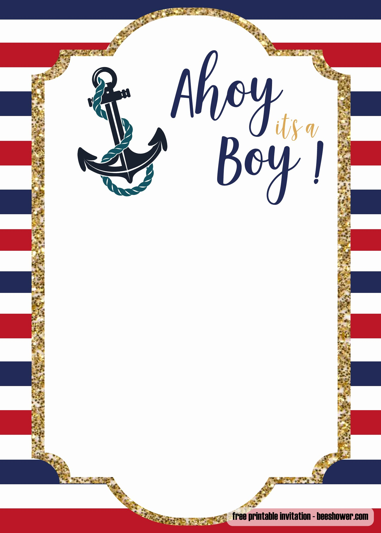 Free Baby Shower Templates Fresh Free Nautical Baby Shower Invitations Templates