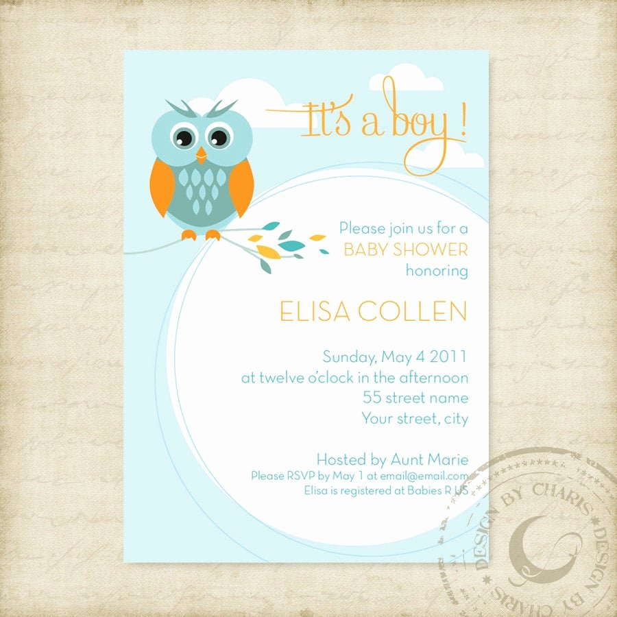 Free Baby Shower Templates Luxury Baby Shower Invitation Template Owl theme Boy or Girl