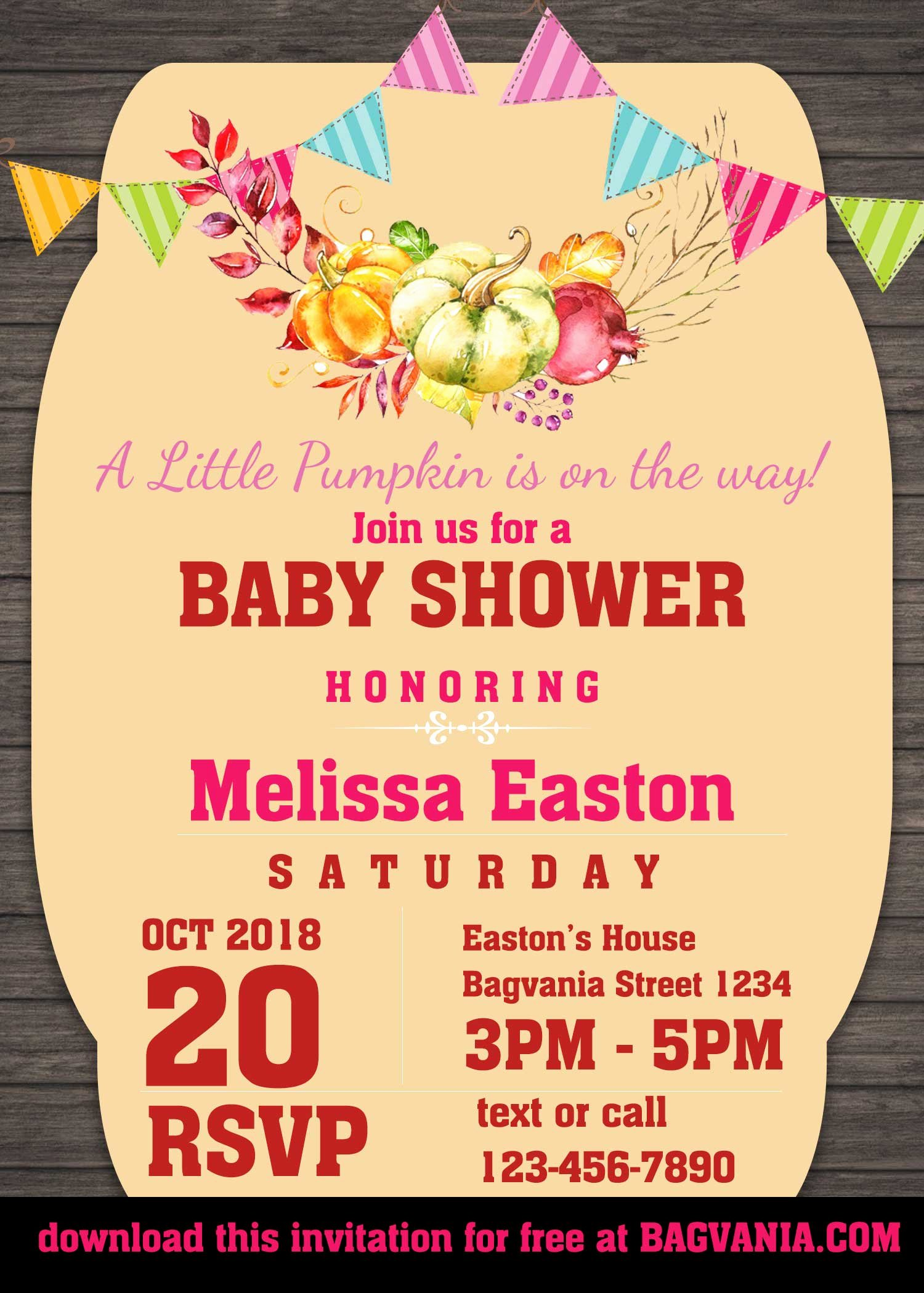 Free Baby Shower Templates New Free Pumpkin Baby Shower Invitation Templates – Free