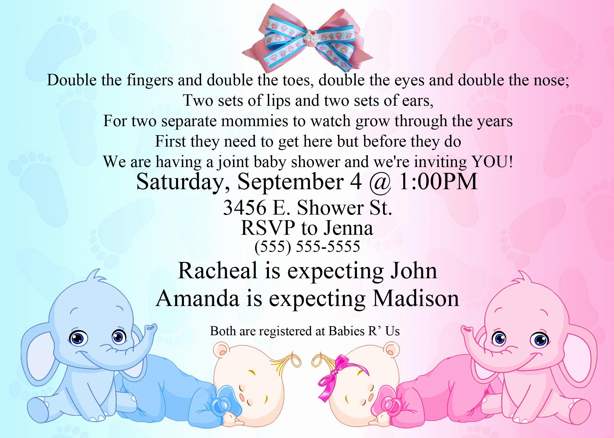 Free Baby Shower Templates Unique Baby Shower Invitation Ideas for Twins