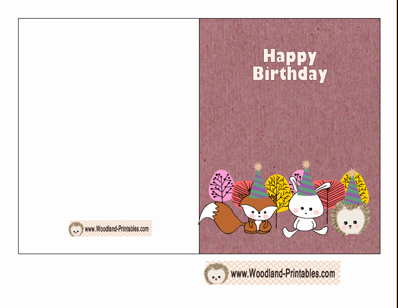 Free Birthday Card Templates Best Of Free Printable Woodland Birthday Cards