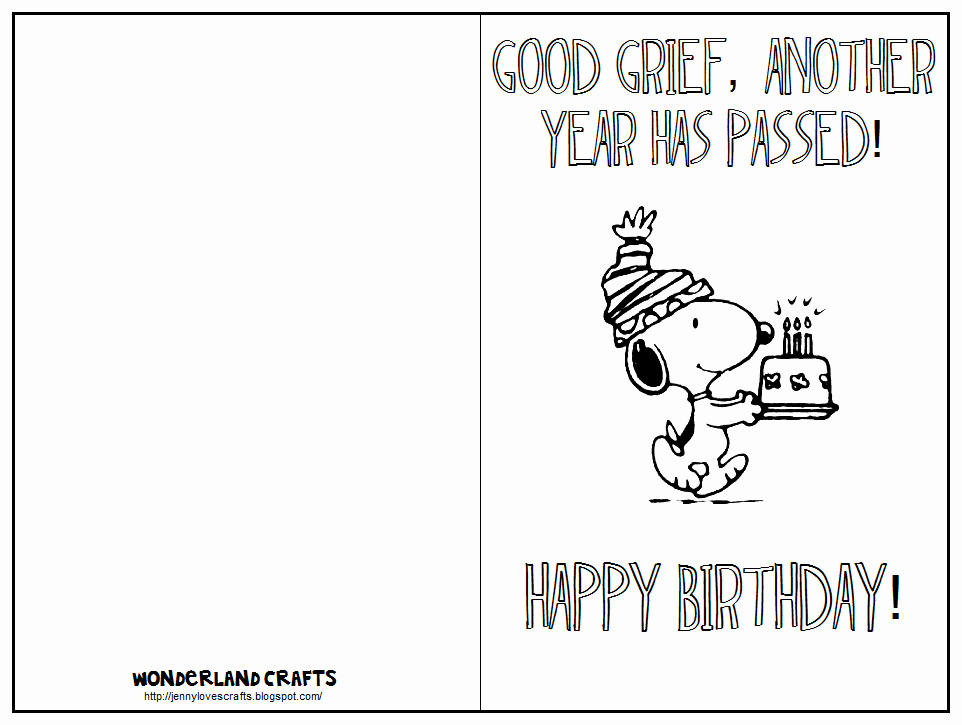 Free Birthday Card Templates Luxury Wonderland Crafts the Peanuts Gang