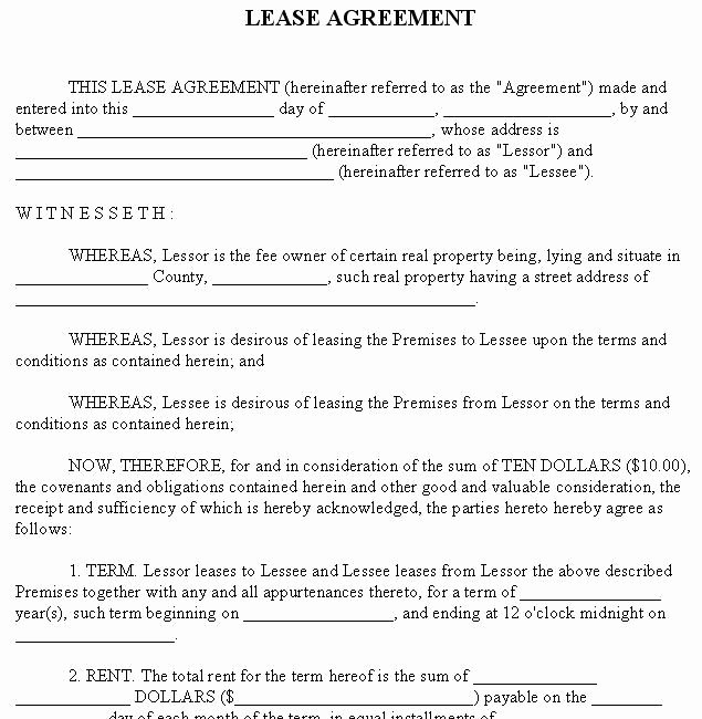Free Blank Lease Agreement Elegant Free Lease Agreement forms