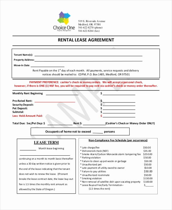 Free Blank Lease Agreement Fresh Free 9 Printable Lease Agreement form Samples In Pdf