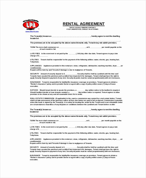 Free Blank Lease Agreement New Blank Rental Agreement 14 Free Word Pdf Google Docs