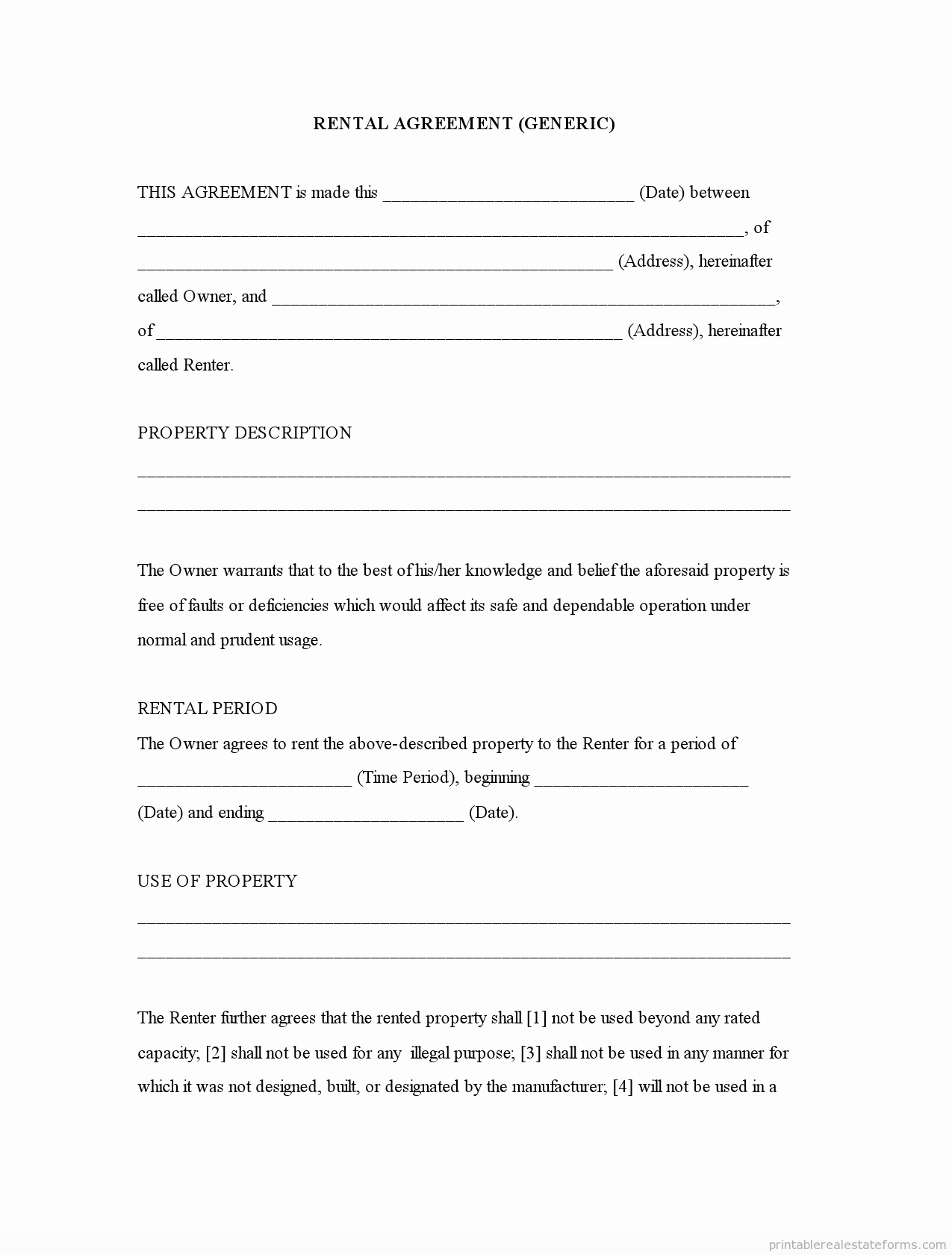 Free Blank Lease Agreement New Generic Template Rental Agreement forms Free Printable