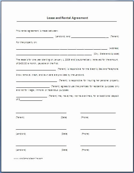 Free Blank Lease Agreement Unique Printable Sample Renters Lease Agreement form