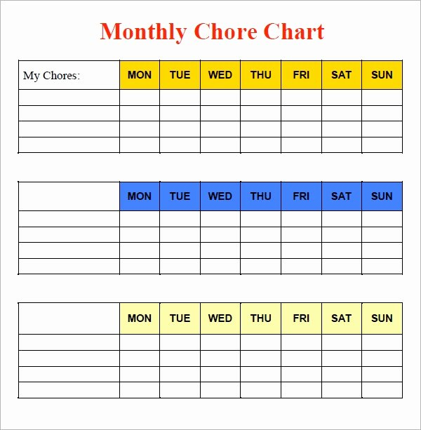 Free Chore Chart Template Awesome Free 5 Sample Chore Chart Templates In Doc