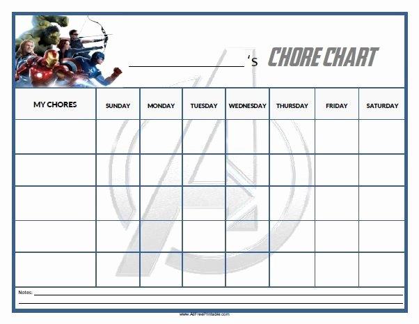 Free Chore Chart Template Best Of Free Printable Avengers Chore Chart Home