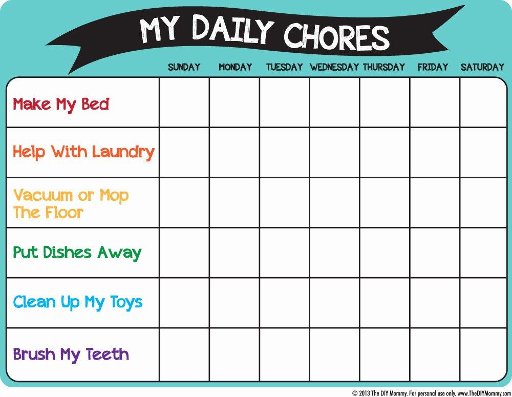 Free Chore Chart Template Elegant Make A Preschool Chore Chart – Free Printable