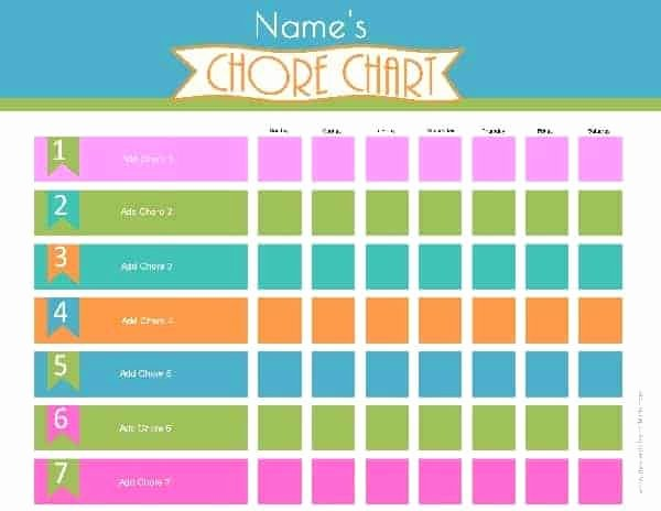 Free Chore Chart Template Fresh Chore Chart Template