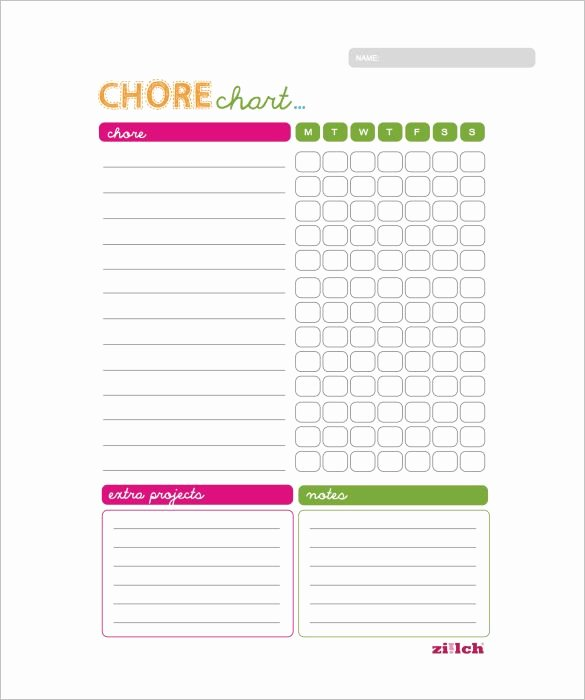 Free Chore Chart Template Inspirational Weekly Chore Chart Template 11 Free Word Excel Pdf