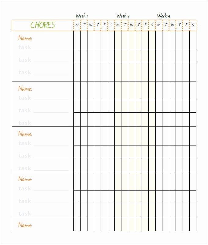 Free Chore Chart Template Luxury Free 6 Chore Chart Template Printable for Kids Excel Word