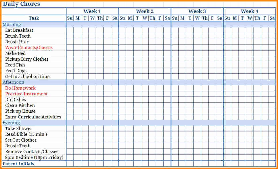 Free Chore Chart Template Luxury Free Printable Chore Chart Templates