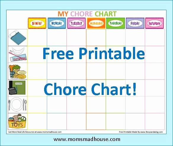 Free Chore Chart Template Unique Free Printable Kids Chore Charts Templates