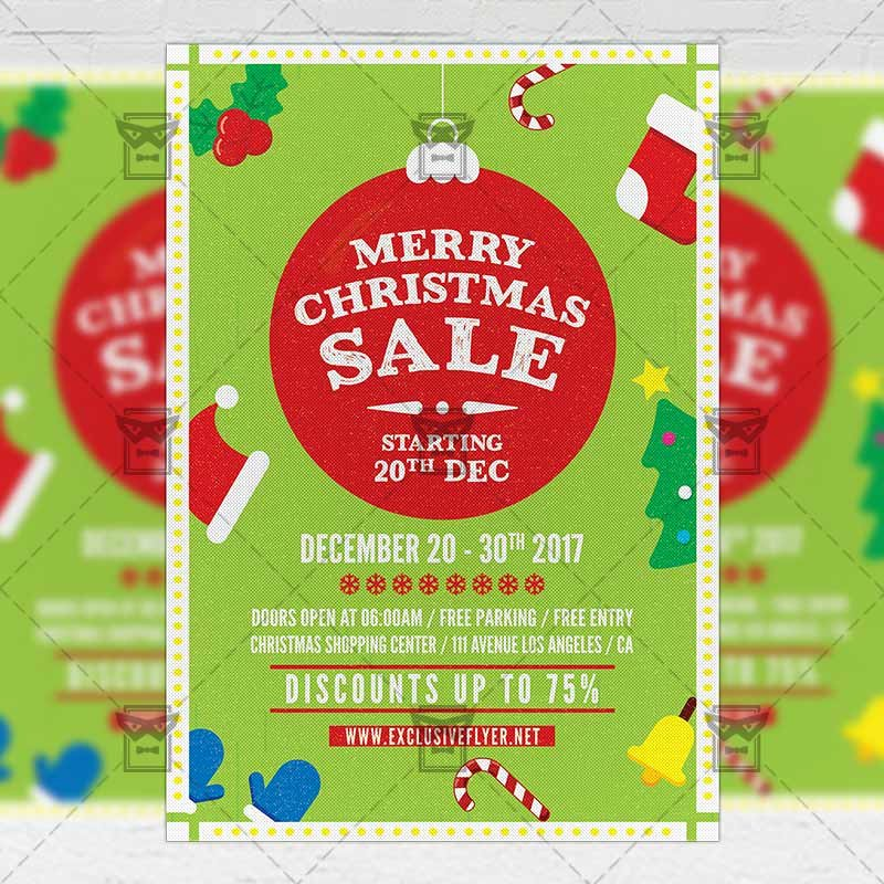 Free Christmas Flyer Templates Elegant Christmas Sale – Seasonal A5 Flyer Template