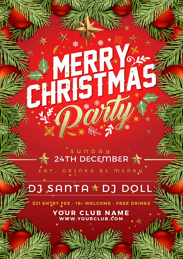Free Christmas Flyer Templates Elegant Free Christmas Party Flyer Poster Design Template 2017