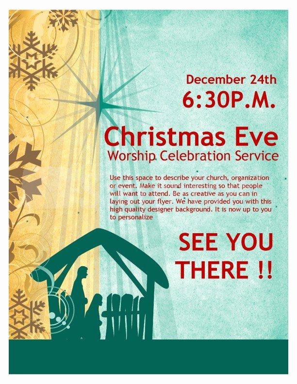 Free Christmas Flyer Templates Luxury Christmas Eve Service Church Flyer