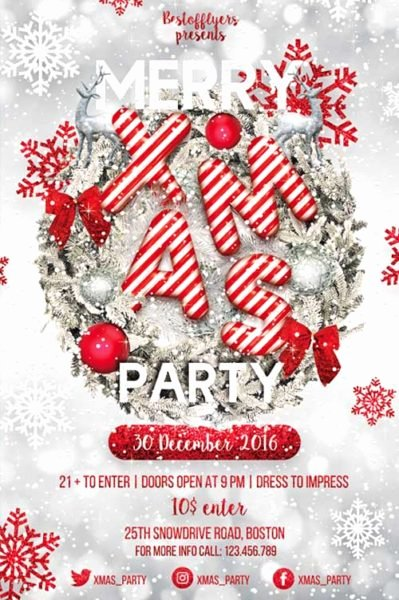 Free Christmas Flyer Templates Luxury Merry X Mas Party Flyer Template Download for Shopparty