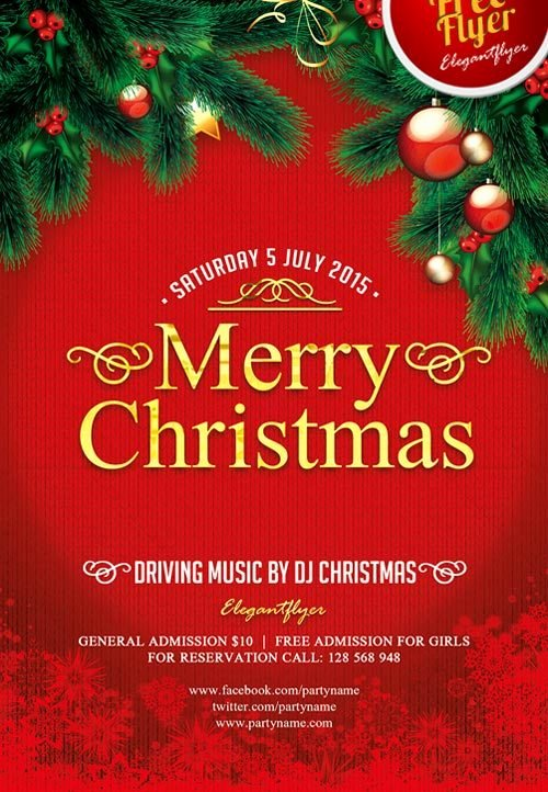 Free Christmas Flyer Templates Unique Merry Christmas Free Psd Flyer Template Download for