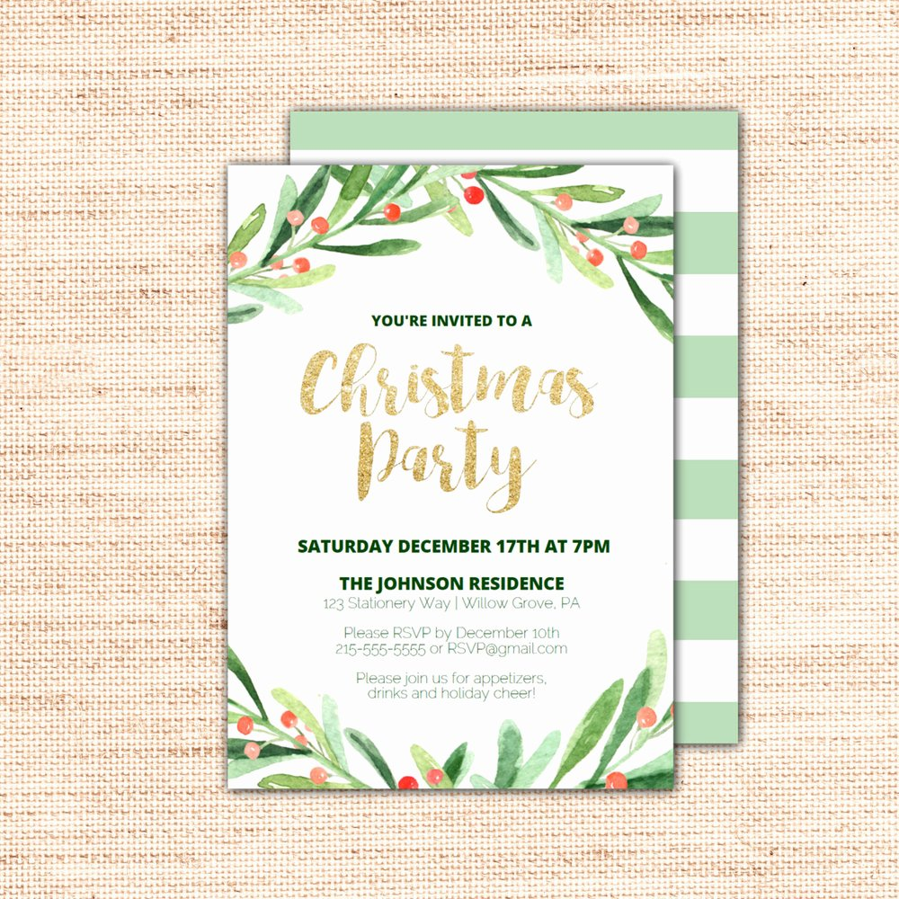 Free Christmas Party Invitations Template Best Of Holly Wreath Printable Christmas Party Invitation Template