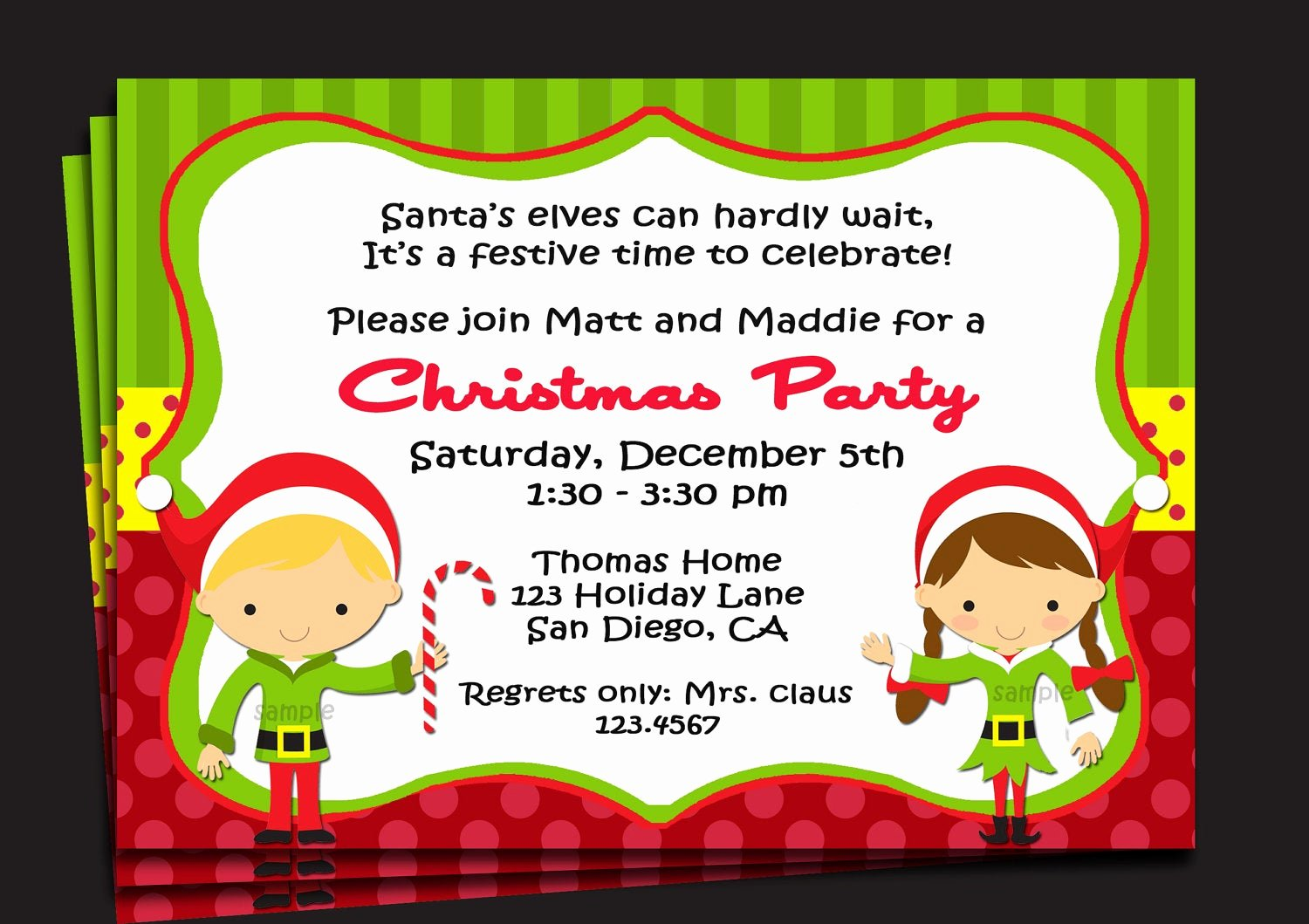 Free Christmas Party Invitations Template Inspirational Christmas Party Invitation Printable or Printed with Free