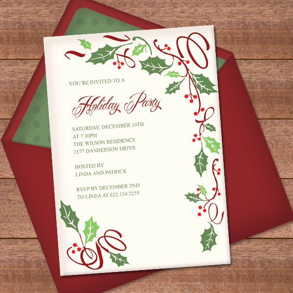 Free Christmas Party Invitations Template Lovely Christmas Invitation Template with Holly Border Design