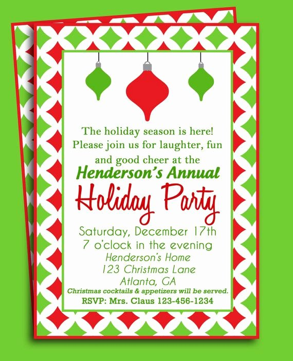 Free Christmas Party Invitations Template Lovely Christmas ornament Invitation