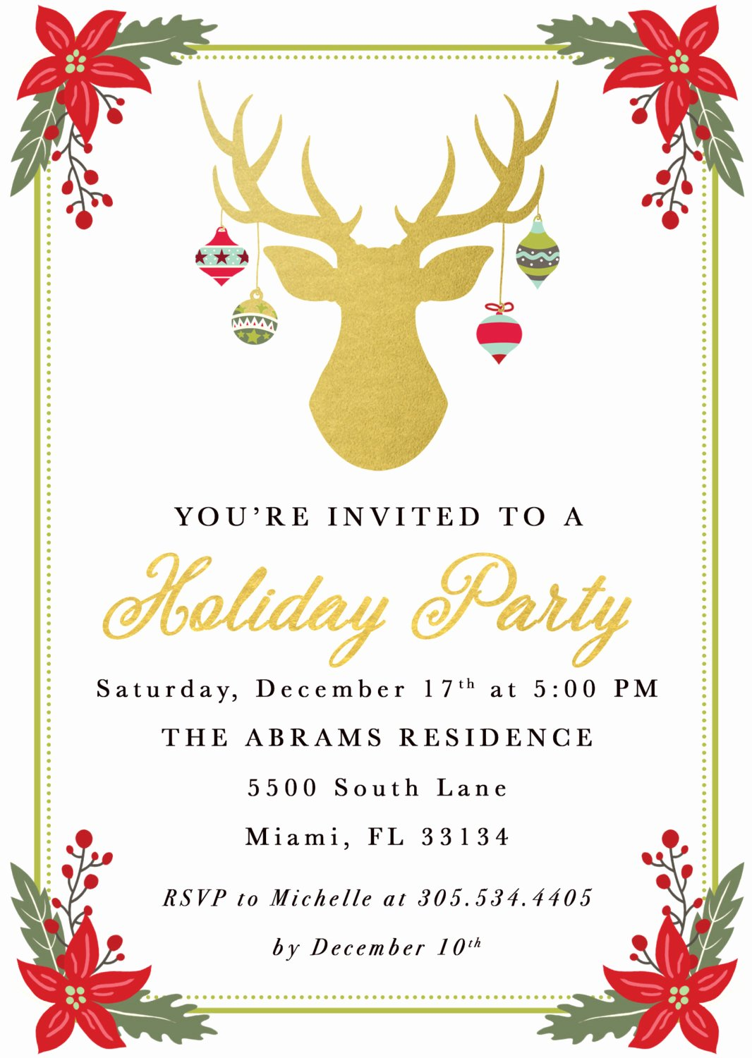 Free Christmas Party Invitations Template Luxury Christmas Party Invitation Reindeer Christmas Party