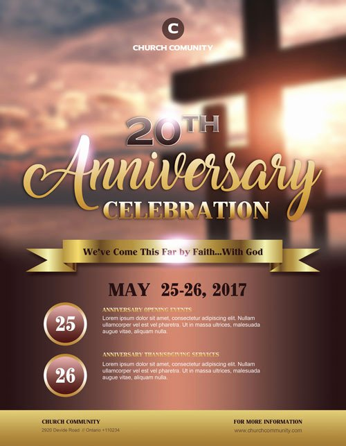 Free Church Flyer Templates Awesome Anniversary Celebration Free Church Flyer Template