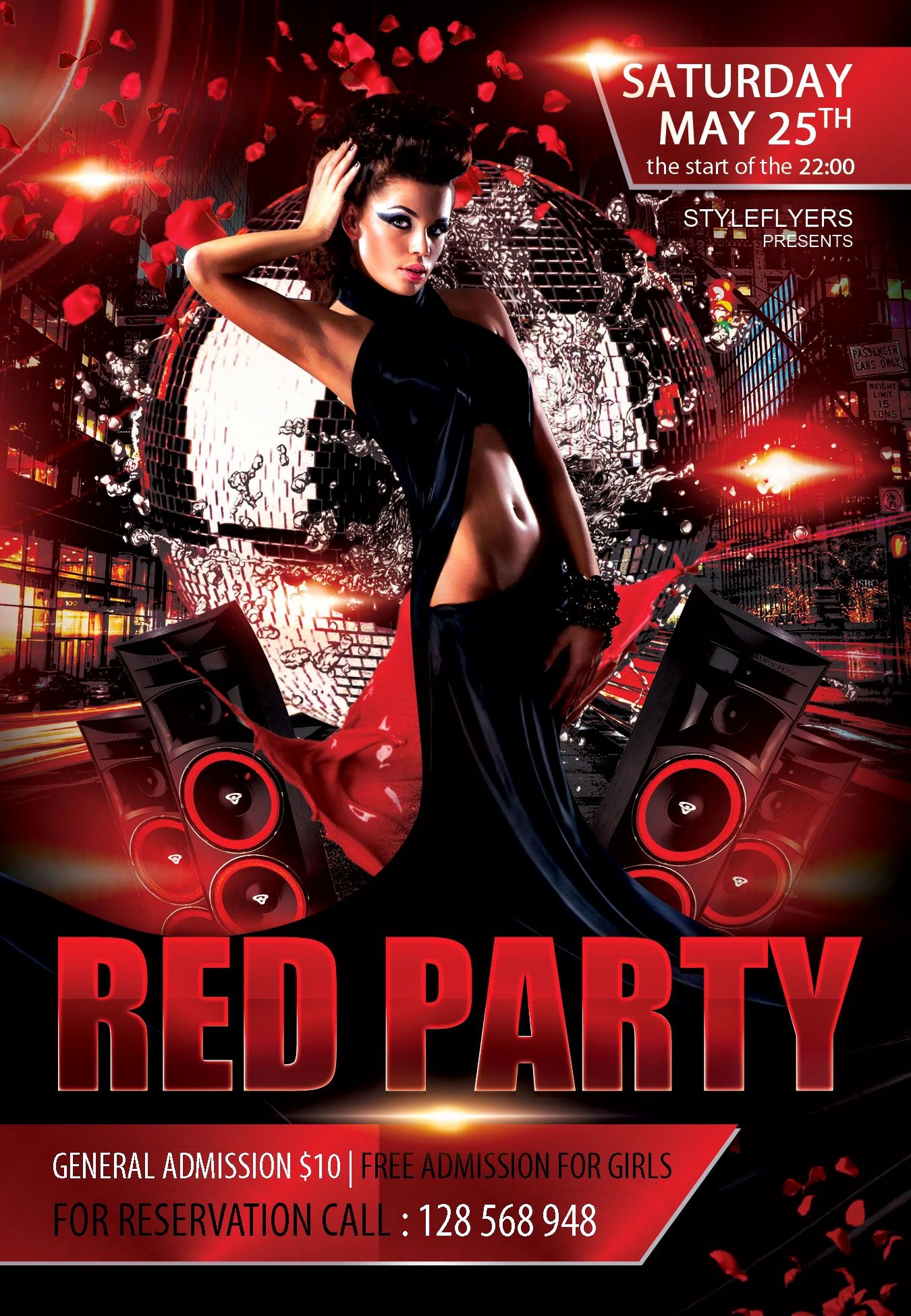 Free Club Flyer Templates Awesome Free Red Party Flyer Psd Template Styleflyer Club