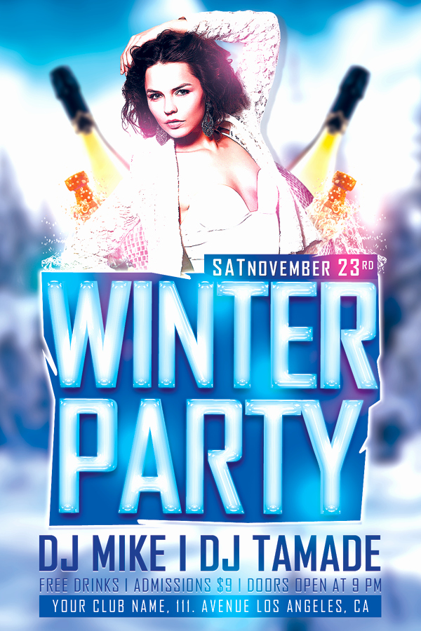 Free Club Flyer Templates Beautiful Winter Bash Free Club Psd Flyer Template