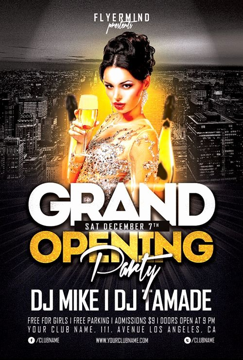 Free Club Flyer Templates Elegant Grand Opening Party Flyer Template Freebie Free Party